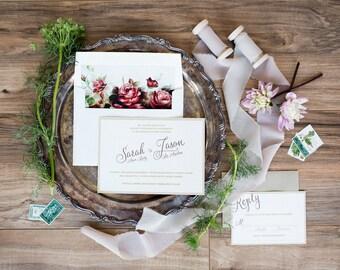 Rose Wedding Invitations, Marsala Wedding Invites, Burgundy, Rustic Vintage Invites, Gold Invitations -  Wedding Invitation Sample Set