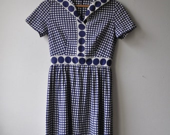 SHOP CLOSING SALE Vintage 1960s Day Dress Tea Dress Navy Blue White Polka Dot Small Knee length