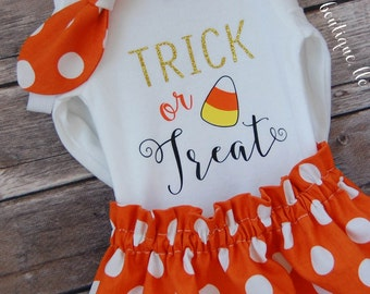 Baby Girl Halloween Outfit; Babies First Halloween Outfit; Trick or Treat outfit