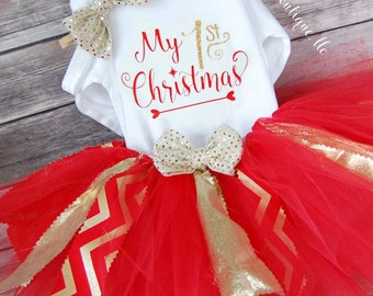 My First Christmas Baby Girl Christmas Outfit; Babies First Christmas Outfit; 1st Christmas Tutu & Onesies® brand by Gerber®