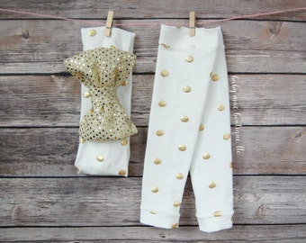 Baby Girl Leg Warmers; Gold and White Ivory dot; Winter Leg Warmers; Christmas