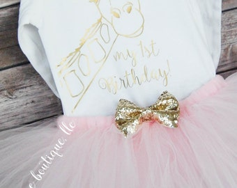 First Birthday Outfit Girl; Giraffe Birthday Tutu Outfit; baby girl birthday tutu outfit; bodysuit and tutu for first birthday