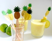 Glitter Pineapple Drink Stirrers - 12 drink picks in yellow or gold with green glitter tops