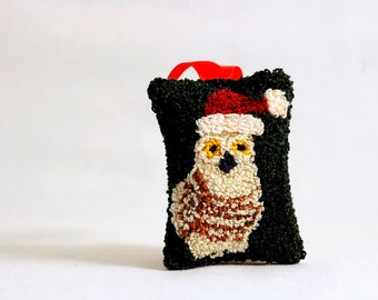 Owl in a Santa Hat Christmas Ornament. Punchneedle Holiday Home Decor. Red, Green, and Cream. Balsam Fir and Eucalyptus Sachet.