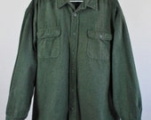 SALE - Vintage Army Green Heavy Duty Flannel Work Spring Fall Shirt - Mens Size 2XL