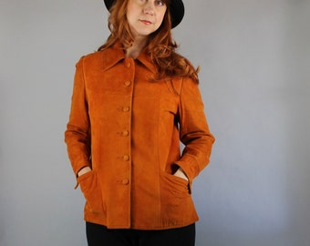 70s Suede Boho Jacket / Women's Jacket /  Orange Pumpkin Jacket / Southwest / Vintage /GOGOVINTAGE