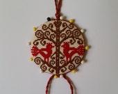 Scandinavian Birds in the Tree Pinkeep Pin Keep Pincushion Sewing Accessory