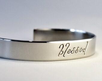 Blessed Bracelet . Personalized Cuff Bracelet . Inspirational Jewelry . Daily Reminder Jewelry . #TBCO
