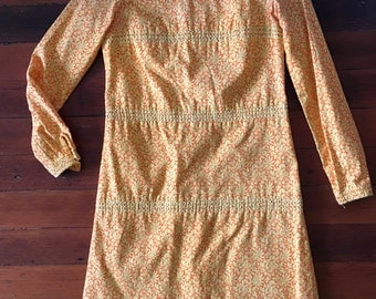 the villager orange yellow floral shift dress long sleeve small 60s