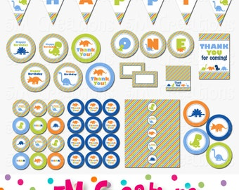 Dinosaur Birthday Party Package - Dinosaur Party Decorations - Dinosaur Banner Cupcake Toppers - Digital Package - INSTANT DOWNLOAD PDF
