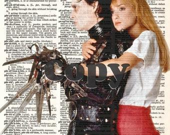 Edward Scissorhands + Kim Tim Burton Vintage Upcycled Fate Dictionary Art Print