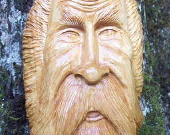 hand carved wood spirit, greenman wood sculpture, cypress wood carving, tree statue wall decor, original living room art