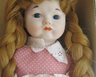 Doll, Vintage Doll, Porcelain doll, Dead Stock, Schmid, China Doll, Red Headed Doll, Doll with Box