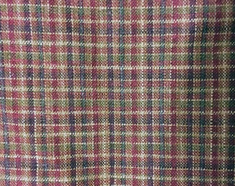 Wool Plaid Fabric - Hooked Rug Fabric - Fall Colors Fabric - Wool Fabric - Earth Tone Wool Plaid Fabric - 1/2 yard