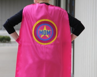 Free mask sale - Personalized MOM or DAD SUPERHERO Cape - Adult Super Hero Cape - Ships Fast - Perfect Super Hero Capes for Men and Women