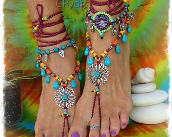 Turquoise Drop SUNFLOWER Barefoot Sandals Hippie FESTIVAL sandal Cowgirl Toe Thongs Wrap Statement foot wear crochet foot jewelry GPyoga