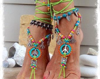 NEON Lotus PEACE sign BAREFOOT sandals Peace symbol Love Mojo beaded Crochet toe ankle wrap sandal Yoga jewelry Bikini Garden wedding GPyoga