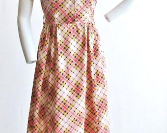 "1940's Rockinchair Plaid Cotton Dress 28"" Waist"
