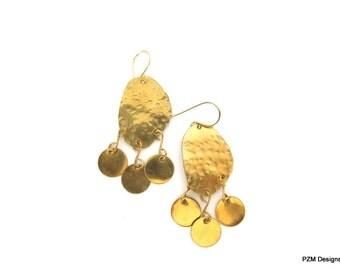 Gold Modern Tribal Earrings, Artisan Boho Chic Earrings, Gift for Her