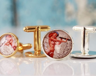 Vintage Pinup Cufflinks, Silver Men's Cufflinks, Men's Accessories, Men's Jewelry, Gift For Men's, Groomsmen gift