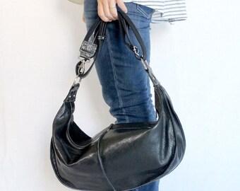 SALE Two-Way Leather Shoulder Bag / Handbag / Purse - Black