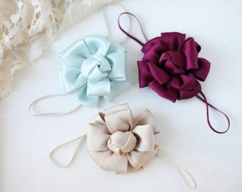 Knot the Same - sky aqua blue tan khaki maroon burgundy mustard satin rosette flower bow headband