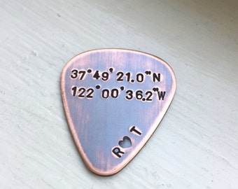 Guitar Pick in Copper - Personalize for Anniversary, Father's Day, Valentine's Day