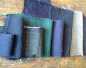 Antique WOOL Fabric - (8) 1800s - Primitive Quilters Gift Pack - Blue Eggplant Greens Wool