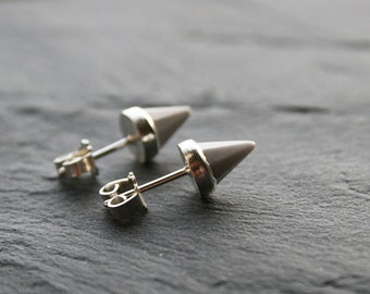 sterling silver and faceted white agate spike earrings - spiky post earrings, geometric earrings