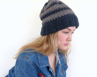 Blue knit hat Mens Grey and blue striped beanie Hand knit blue slouchy beanie Womens beanie