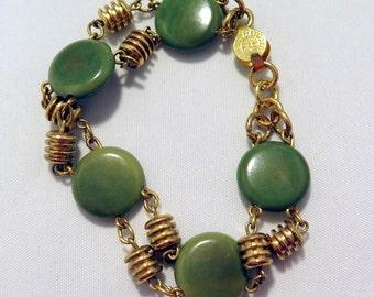Vintage Unakite Natural Polished Stone Gold Plated over Brass Bracelet