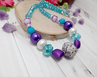 Blue And Purple Beaded Necklace