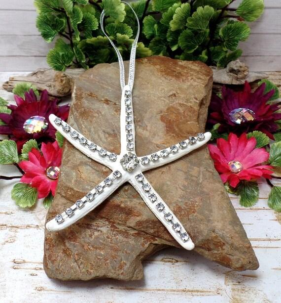 Rhinestone Starfish Ornament With White Ribbon - Christmas - Beach Decor - Home Decor - White Starfish