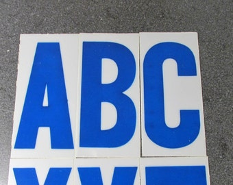 """Vintage Plastic Sign Letters 3 1/2"""" YOUR CHOICE Caps Blue Plastic Letters Numbers Display Signage Alphabet Numbers Art Supplies (F106)"""