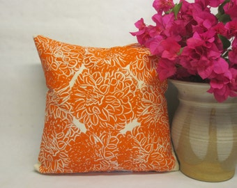 Orange Dahlia Pillow - Decorative Orange Dahlia Floral Pillow