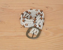Vintage 70's Macrame Rope Belt In Cream Woven With Brown Wooden Beads Brass Buckle