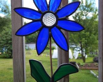 "Stained Glass Flower Pot Sticker/Garden Stake Blue 18"""