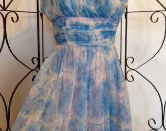 Emma Domb  1950's blue and pink party dress