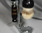 Man's shaving set African Blackwood with Etched Copper Hunting Inlay Super Silvertip Badger Hair Shaving Brush Wet Shaving Kit Father's Day