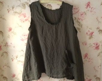 Washed Linen Tank Tunic Ruffled Sleeveless  Army Green Linen Top  Pocket Sweet Prairie Lagenlook Ready To Ship  One Size