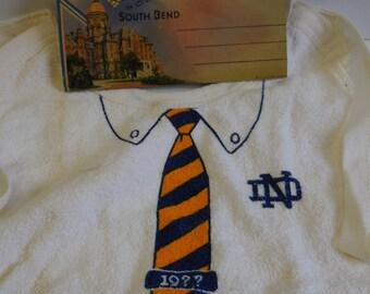 Vintage Notre Dame college University Bib Tie w/ postcards Indiana ND fighting Irish