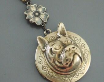 Locket Necklace - French Bulldog Necklace - Dog Necklace - Brass Necklace - handmade jewelry