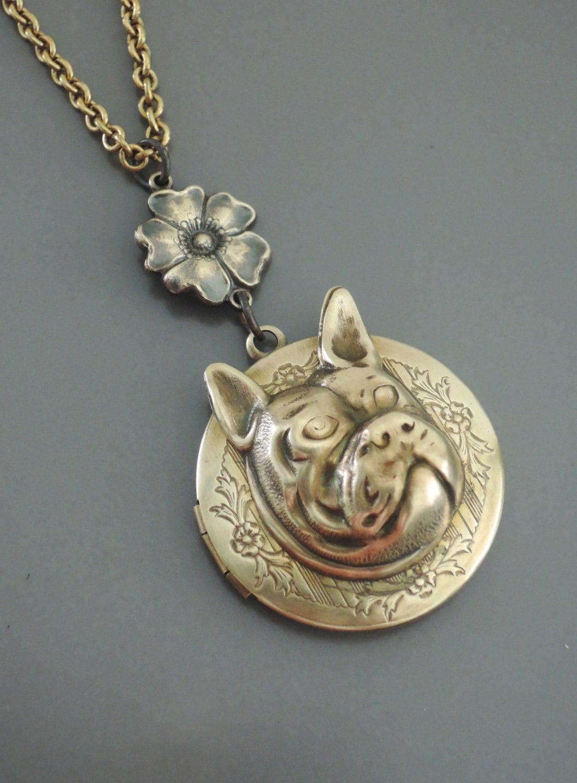 locket necklace bulldog necklace necklace