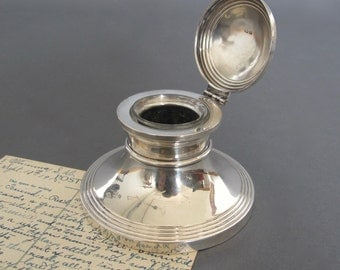 Extra Large Solid Silver Capstan Inkwell from England - Antique Inkwell - Hallmarked Birmingham 1920