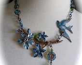 OOAK Neo-Victorian Style Assemblage Necklace Blue Flowers and Swallow Choker Length