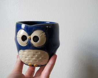 Hooter Owl Mug (Julie) in Bright rainforest Blue Handmade Stoneware - Ready to Ship
