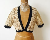 Vintage 1930s ecru color lace jacket