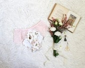 Limited Pastel Pink and Brown Woodland Toile with Lace Panties Handmade to Order