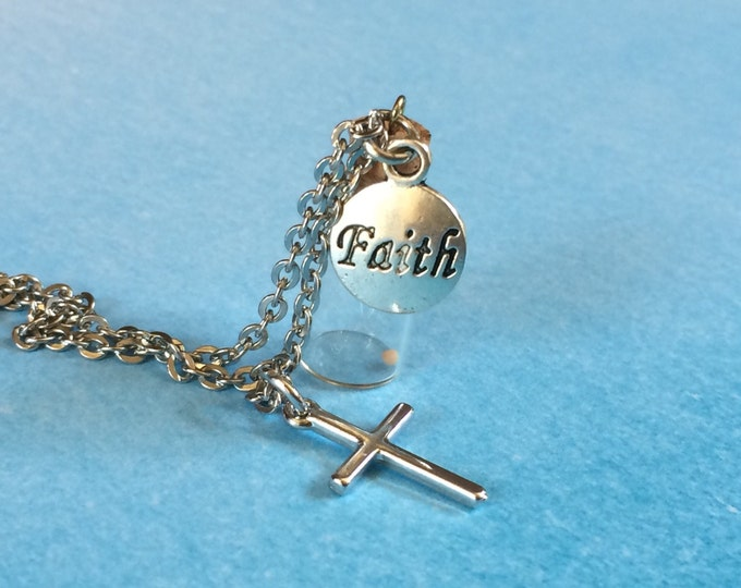 Faith the size of a Mustard Seed Necklace, Christian Necklace, Mathew 17:20 hypoallergenic necklace stainless steel necklace  sensitive skin