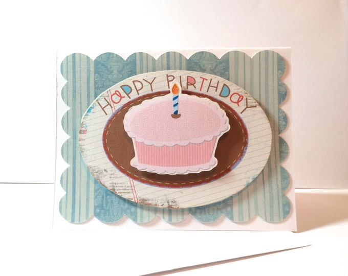 Happy Birthday Dimensional Card, Hope Your Day is Sweet, Card with Cake made on recycled paper, comes with envelope and seal